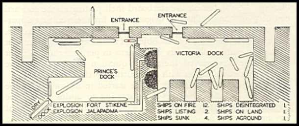 Схема Бомбейского порта после взрыва