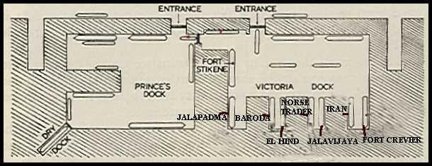 Схема швартовки судов в порту Бомбея до взрыва