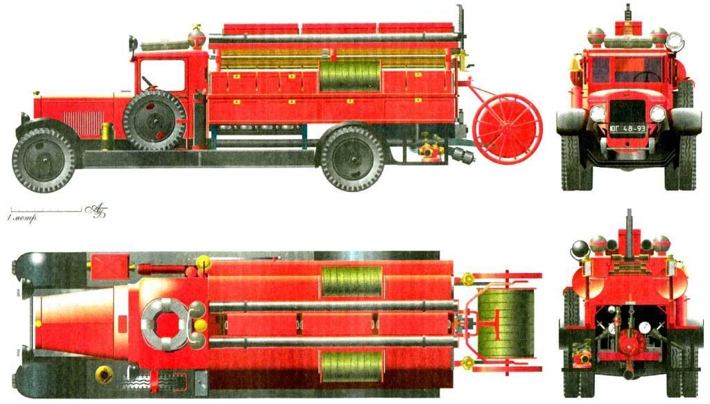 Пожарный автонасос-линейка ПМЗ-1. Начало выпуска 1934 год