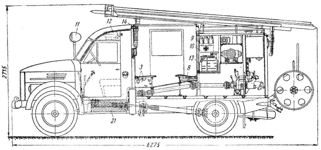 Чертеж пожарного автонасоса ПМГ-12
