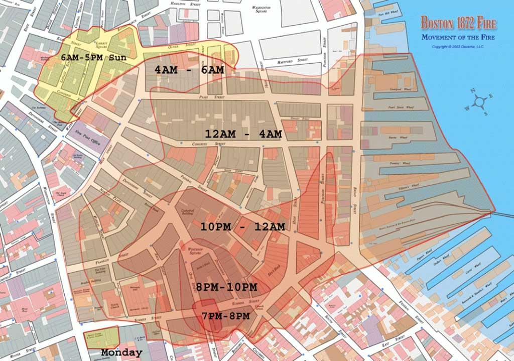 Карта распространения Великого Пожара Бостона