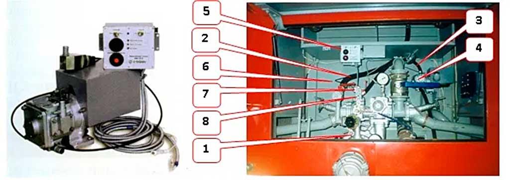Комплект вакуумной системы АВС-01Э и его размещение в насосном отсеке автоцистерны АЦ 3,0-40 (43206)1МИ