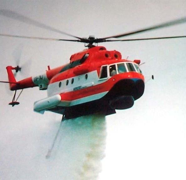 Пожарный вертолет Ми-14ПЖ «Элиминатор». Сброс воды