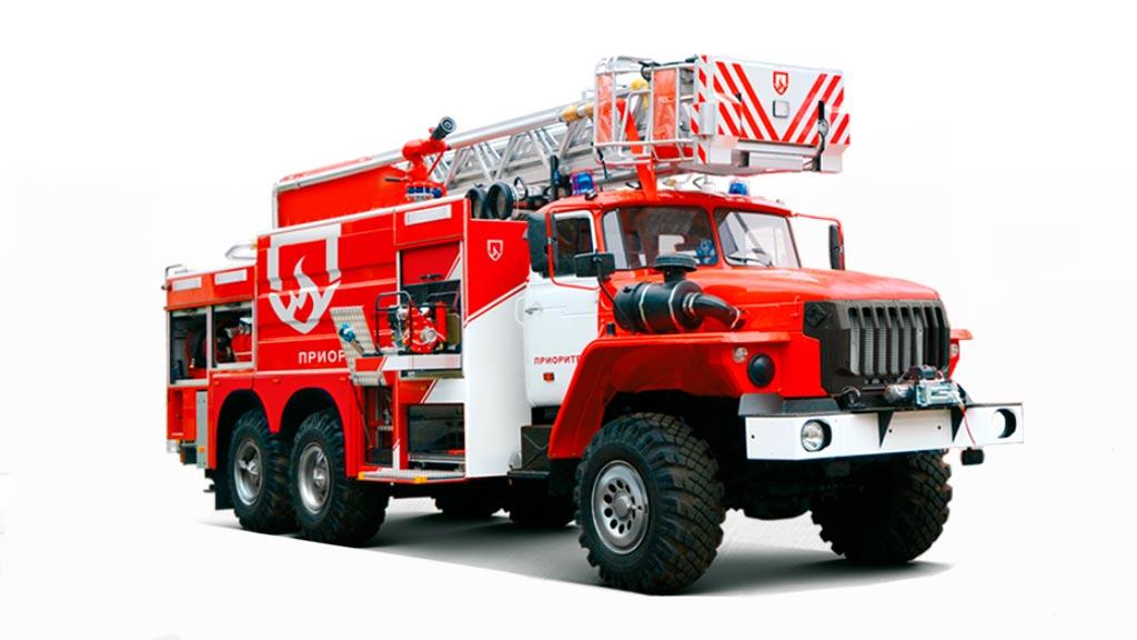 Пожарная автоцистерна с лестницей АЦЛ-6,0-50/4-18 (4320)