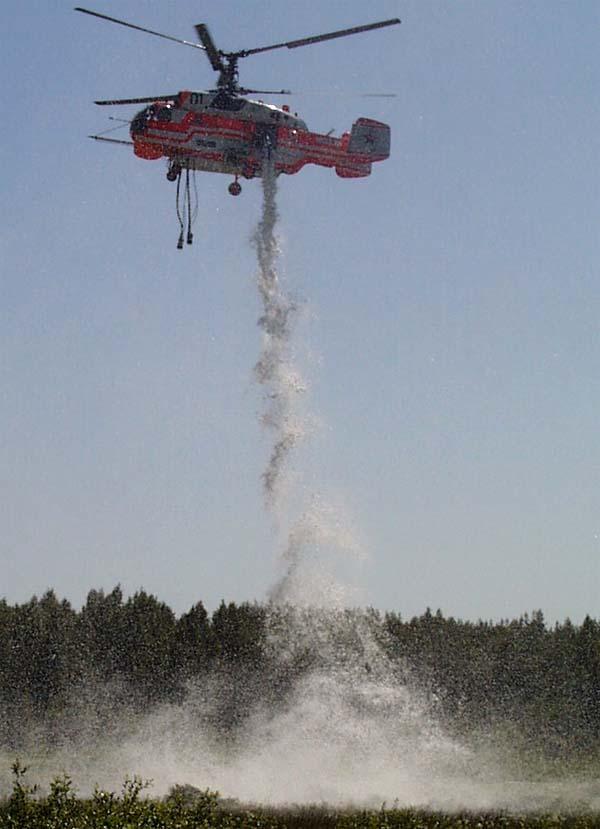 Пожарный вертолет Кa-32А1. Сброс пены