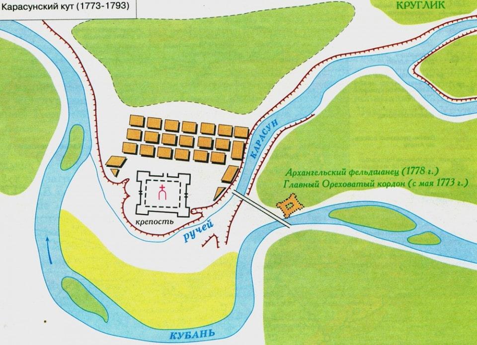 Карасунский кут (1773 - 1793). Карта