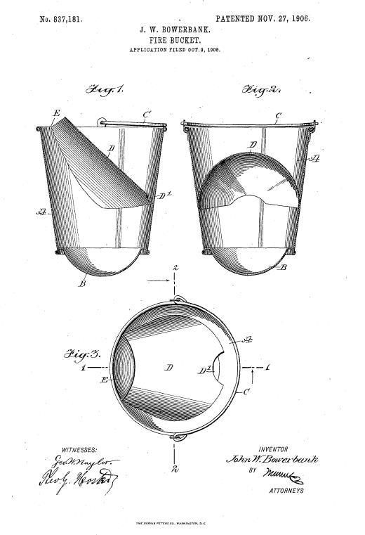Пожарное ведро. Иллюстрация из патента США