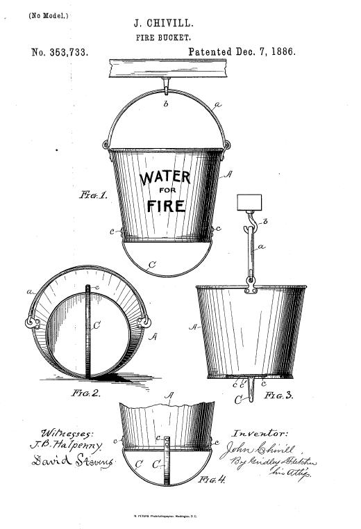 Пожарное ведро. Иллюстрация патента США
