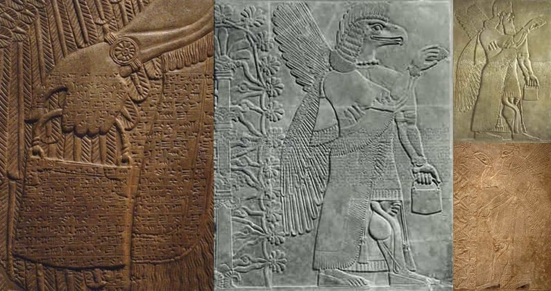 Изображения ведра на барельефах древней Ассирии и Шумера