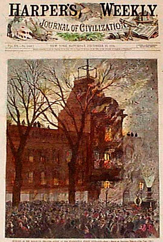 Обложка Harpers's Weekly: «Пожар в театре Бруклина»