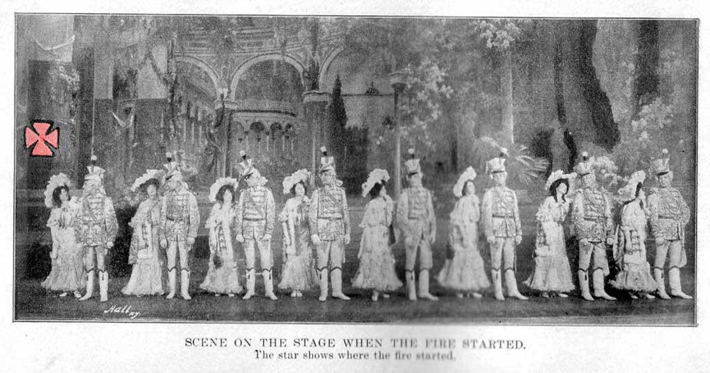 Артисты на сцене чикагского театра «Ирокез» перед пожаром (знаком указан очаг пожара)