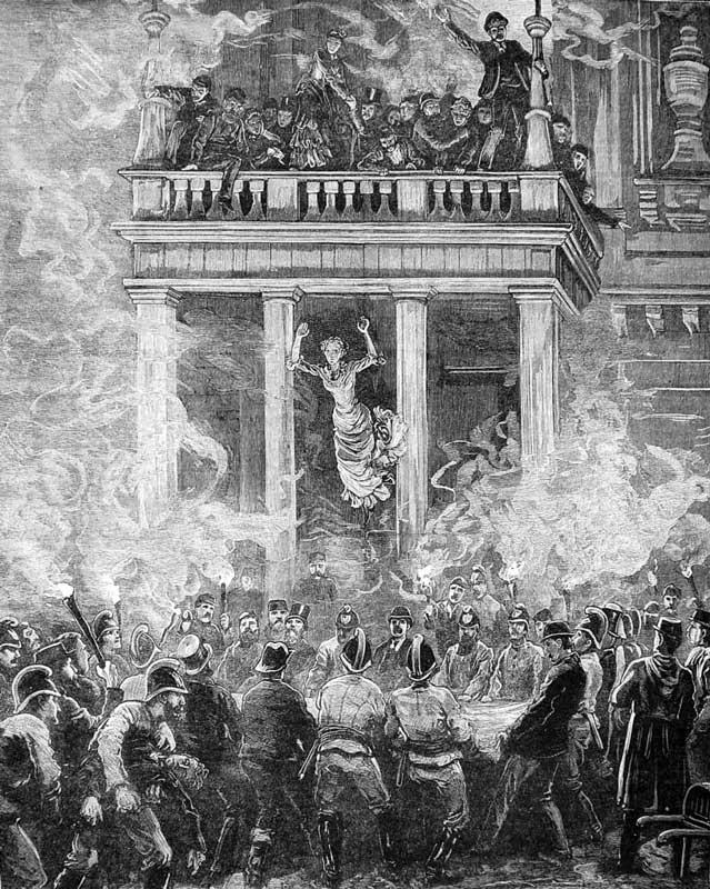 Пожарные спасают людей из огненной ловушки при пожаре в Ринг-театре (Вена, 1881 год)