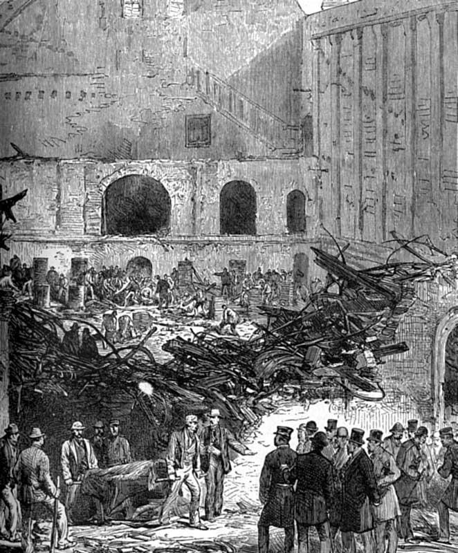 Разбор завалов после пожара в Бруклинском театре (Нью-Йорк, США)