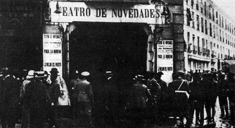 Вход в театр «Новедадес» до пожара (Мадрид, Испания, 1928 год)