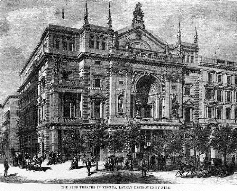 Здание Ринг-театра в Вене до пожара