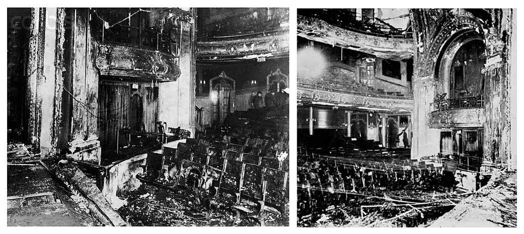 Зрительный зал театра «Ирокез» после пожара (Чикаго, США, 1903 год)